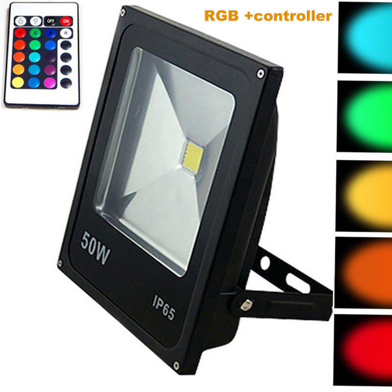 Led floodlights 10W 20W 30W 50W lighting IP65 outdoor 220V spotlights RGB with remote controller spot flood lamp garden(China (Mainland))