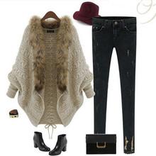 2015 New Autumn Winter Fashion Thick Women Lotus Cardigan Fur Collar Batwing Sleeve Loose Sweater Coat Top Outwear(China (Mainland))