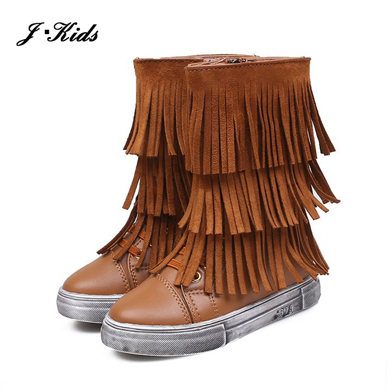 2015 New winter kids boots 15-18cm fringe style girls fashion boots flat PU leather Martin boots for girls with zip<br><br>Aliexpress