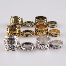 4PCS Vintage Punk Ring Set Unique Carved Antique Silver Elephant Totem Leaf Lucky Rings for Women