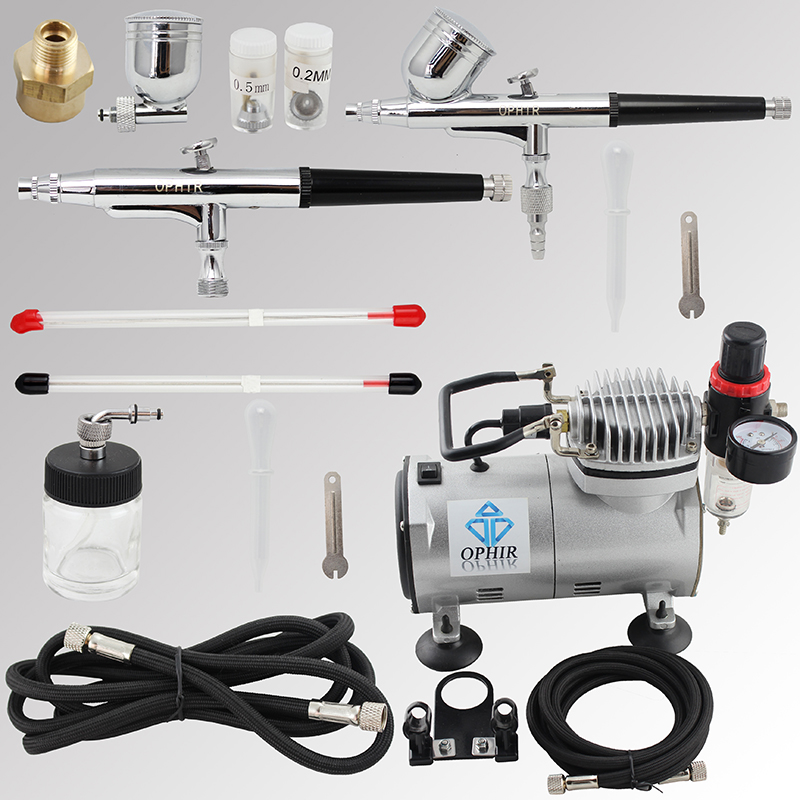 OPHIR 110V,220V 2 Airbrush Spray Paint Gun &amp; Mini Air Compressor for Hobby Cake Decoration Model Paint  #AC089+AC004+AC074<br><br>Aliexpress