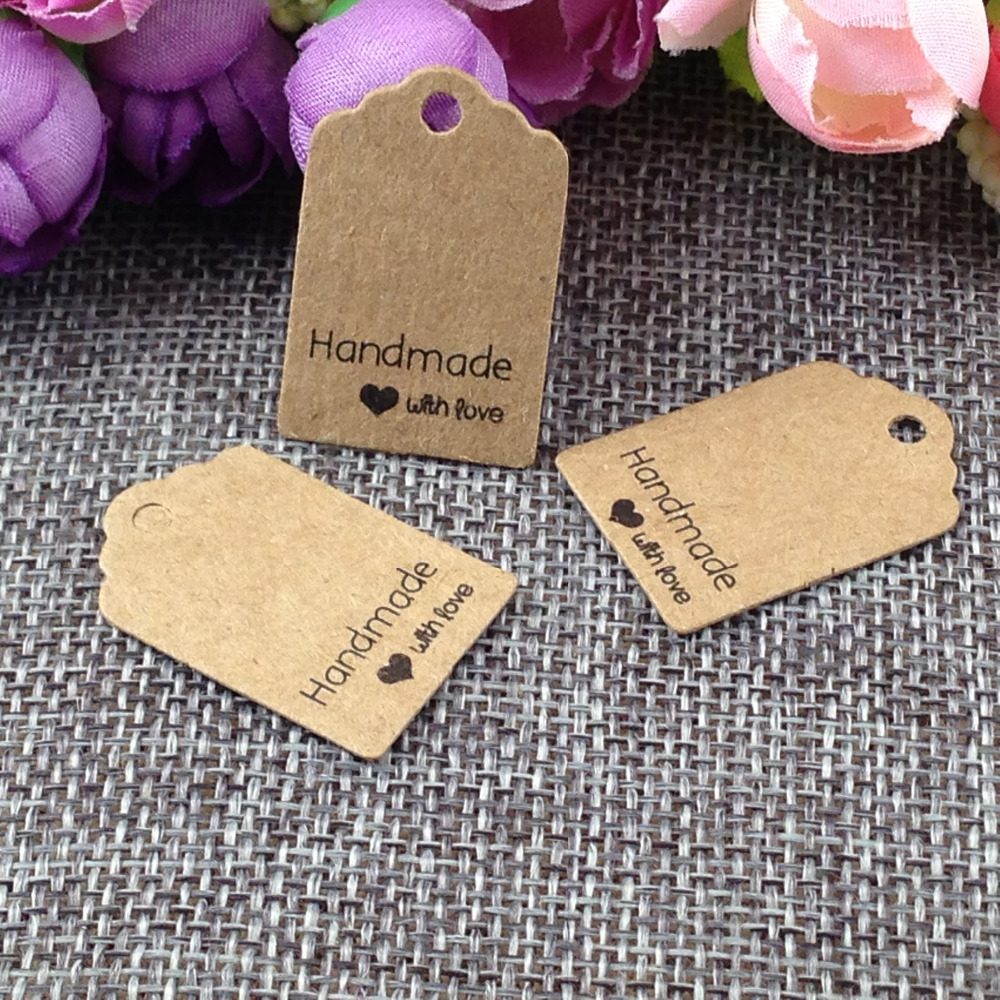 Size:3x2cm kraft tags 100PCS /lot hand made with love kraft Tag for gift box and Paper Cards DIY Gift Tags for Handmade cake(China (Mainland))