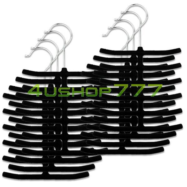 EN0921 8x Black Velvet Cloth Belt Scarf Necktie Hanger Holder Rack Closet Organizer(China (Mainland))
