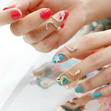 Charming Jewelry 2 Colors Butterfly Snake Starfish Twisted Knuckle Finger Woman Ring(China (Mainland))