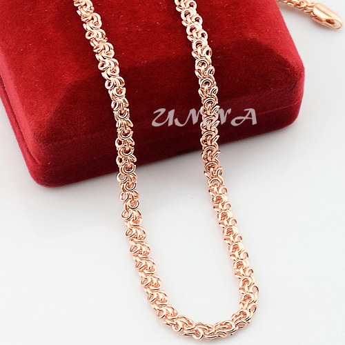 5mm 20inch 24inch Mens Womens Accessories Solid 18K Rose Gold Plated Filled Link Chain Necklace Jewelry Fashion NEW(China (Mainland))