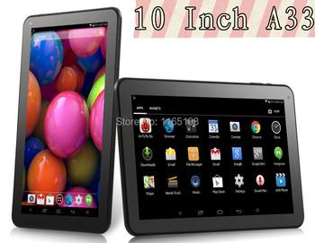 Четырехъядерный планшет pc 10 дюймов а33 четырехъядерный планшет pc 1 ГБ + 16 ГБ Android 4.4 WIFI двойная камера WIFI Bluetooth OTG 1024 * 600 5500 мАч