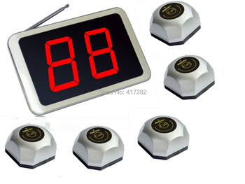 calling button of 1 pc APE1000 of service bell and 5 pcs APE560 displayer  for kitchen.wireless paging system