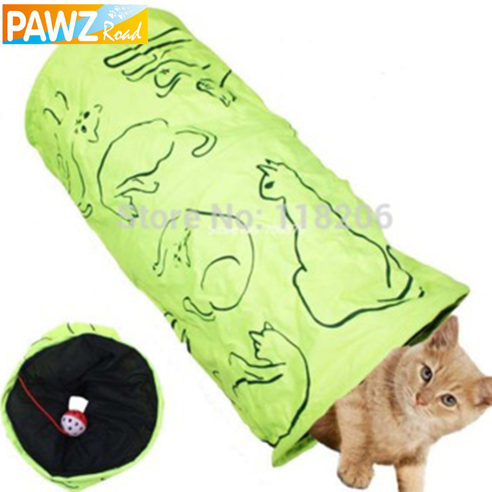 Pet Tunnel Cat Printed Green Lovely Crinkly Kitten Tunnel Toy With Ball Play Fun Toy Tunnel Bulk Cat Toys Rabbit Play Tunnel(China (Mainland))