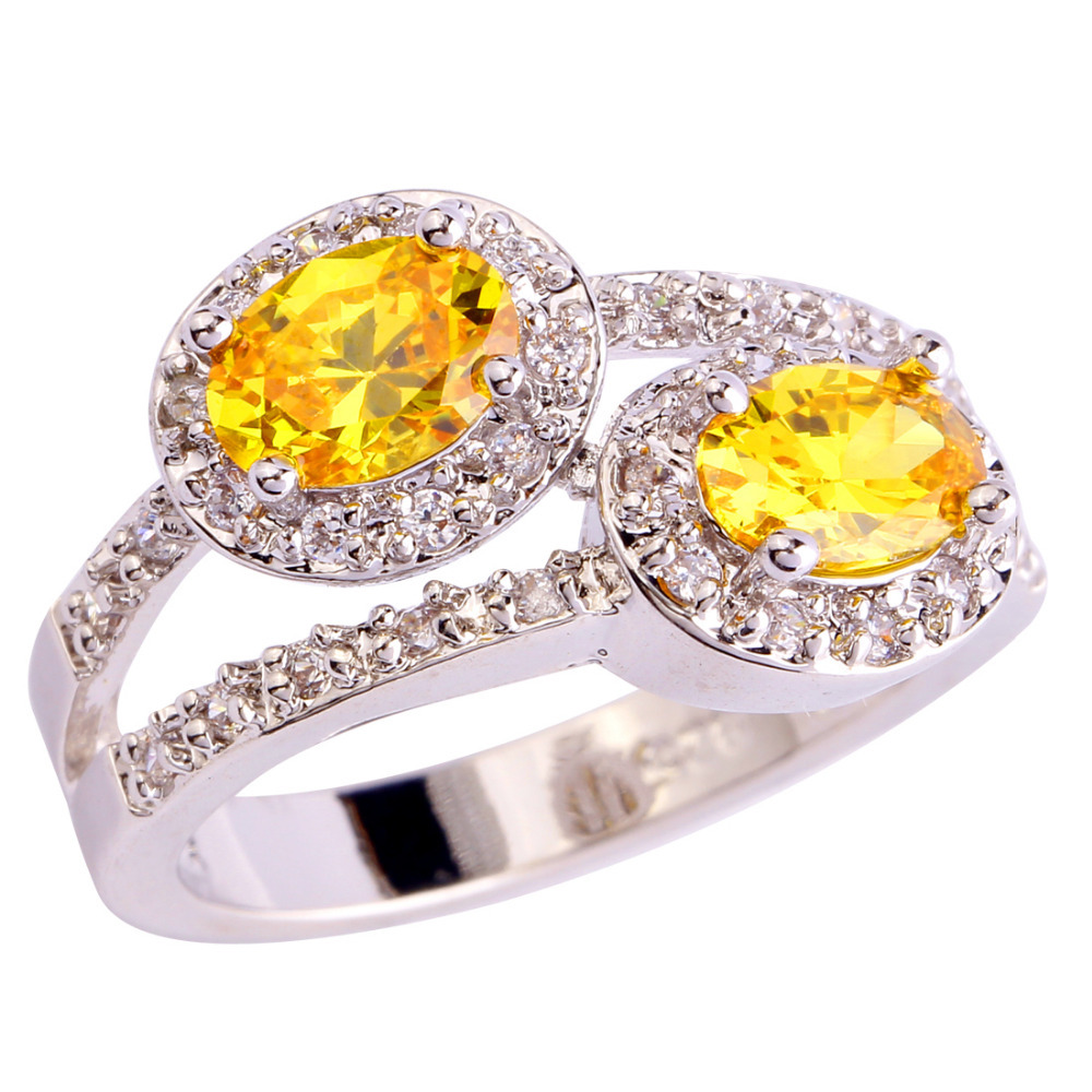 New Fashion Jewelry Shinning Oval Cut Golden Yellow Citrine Silver Ring Size 8 Women Rings Free