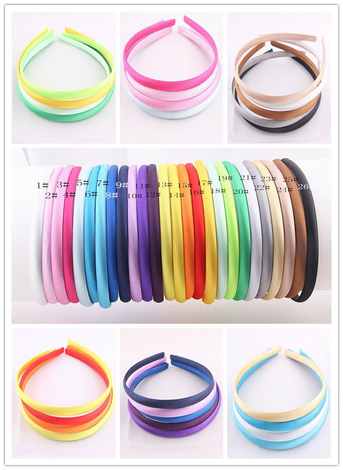 1 lot=26pcs Colored Satin covered Resin Hairbands, 1CM Children Ribbon Covered Hair headband Adult & Kids headbands(26 colors)(China (Mainland))