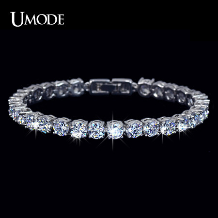 UMODE Charm AAA+ Round 0.5 carat Cubic Zirconia Tennis Bracelet for Woman Pulseira Classic Wedding Jewelry Lady Bracelet UB0021(China (Mainland))