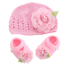 Flower Girls Baby shoes hat crochet photography props set,handmade boutique toddler girl boots,Crib baby prewalker shoes #2T0096(China (Mainland))