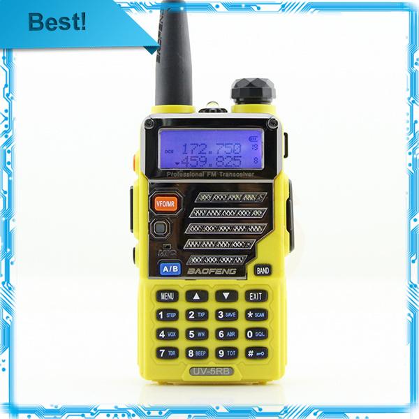 Yellow new baofeng uv-5rb walkie talkie vhf/uhf 136-174/400-480mhz dual band transceiver ham radio with free earphone uv 5rb(China (Mainland))