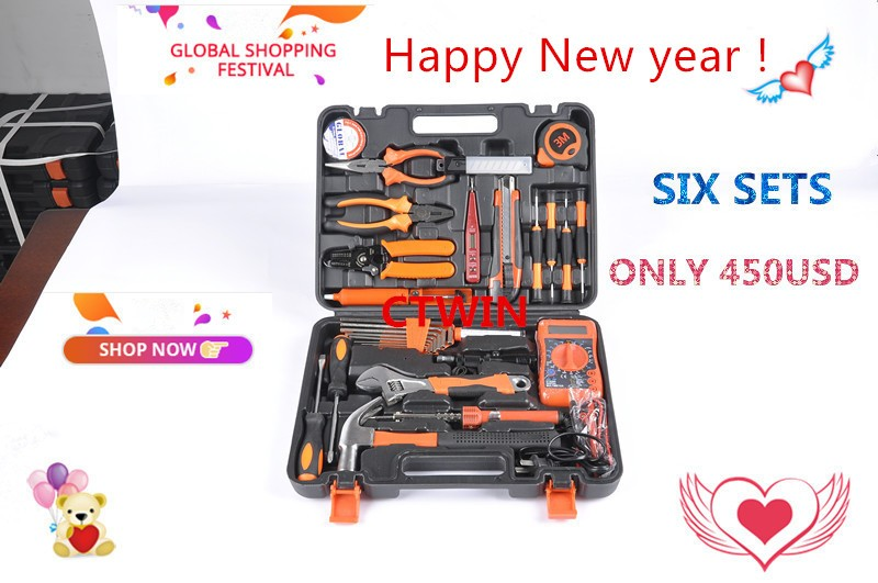 Buy SIX SETS of Manufacturers Selling 82PCS Electrician Section Metal Toolbox Household Hardware Hand Tools Combination Useful Suit cheap