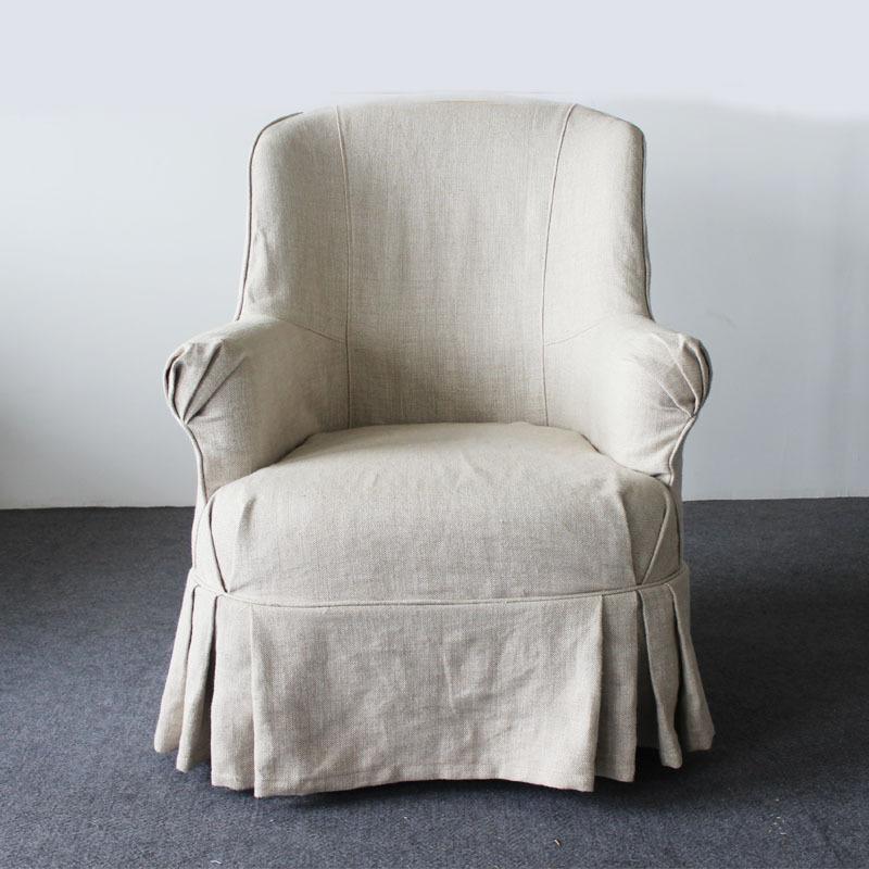 Franse rustieke meubels retro houten lounge stoelen ikea continentale sofa fauteuil stoel - Linnen stoel ...