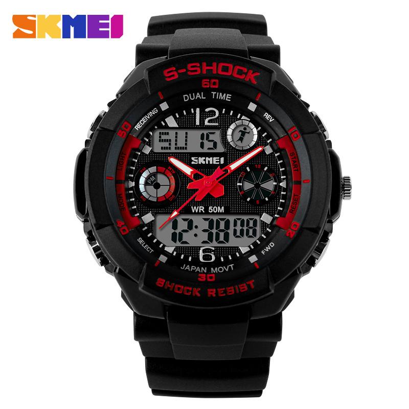 Гаджет  Outdoor Casual Sports Watch Skmei Luxury Brand Men Watches  2 Time Zone LED Digital Quartz Military Watches Dress Wristwatch None Часы