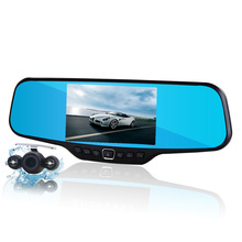 New 4.3 inch lcd car camera recorder full hd 1080p rearview mirror camera night vision car dvr dual lens parking mirror dvr