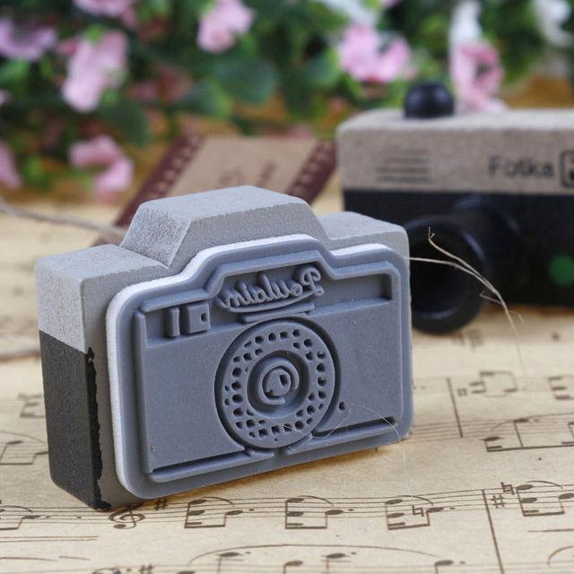 Azerin прекрасный 2 модель корея деревянные ретро-камеры штамп печать серый и коричневый DIY бесплатная доставка