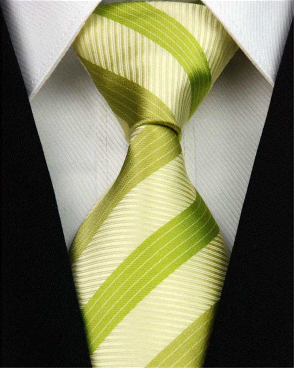 """New Men 100% Silk Suit Jacquard Woven Ties Man Accessories Necktie Wedding Party Prom Yellow Green Striped Tie Nt156 (4""""/10cm)(China (Mainland))"""