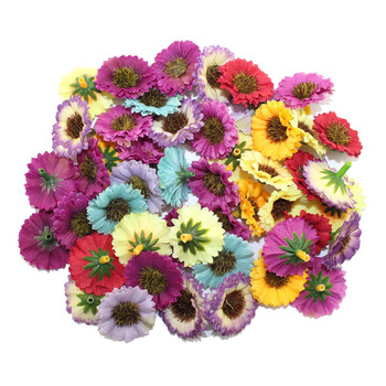100pcs/lot 3cm head High quality Multicolor artificial Cloth Wedding flower/Daisy flower Bouquet Scrapbooking