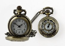 Free shipping 40pcs/lot Flower Skeleton Women Necklace Pocket Watch Xmas Gifts
