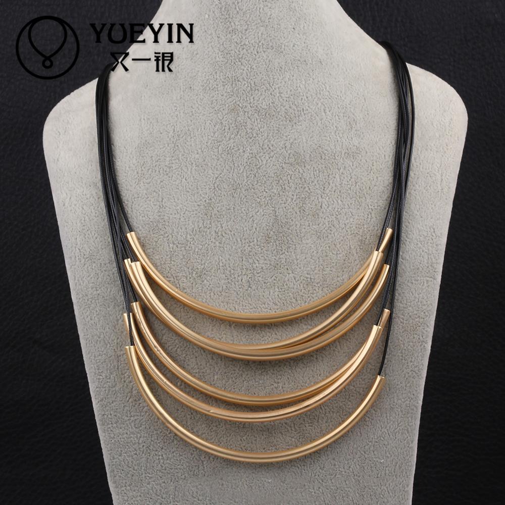 Venta al por mayor grande de Metal cadena de múltiples capas collar largo, collar de la declaración, gargantilla collar mujeres .