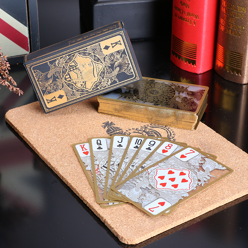 Free shipping waterproof transparent pvc plastic poker gold edge playing cards dragon card novelty high quality gift(China (Mainland))