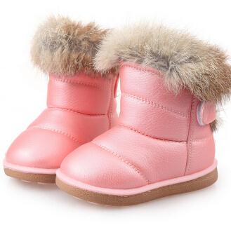 Дети Сапоги детские Резиновые Сапоги Зимние Дети Утолщаются Плюшевые Снег Сапоги Ребенок Теплые Кожаные Короткие Детские Младенческой белый обуви
