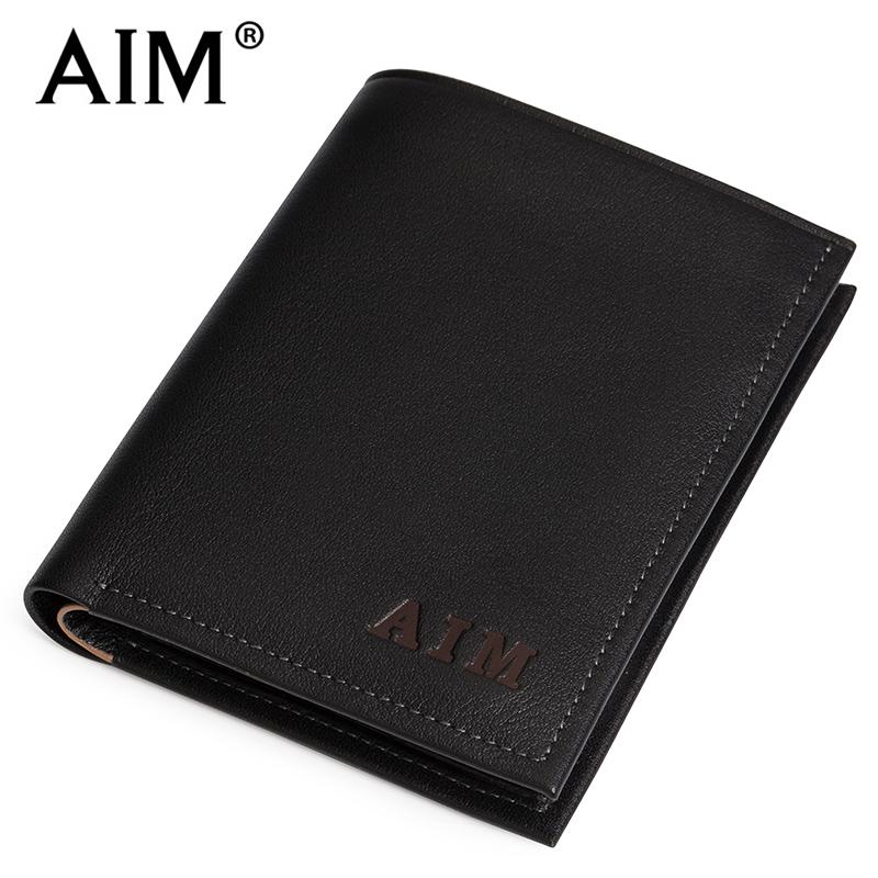 designer wallet with money clip q42a  AIM super soft leather wallet purse slim male short vertical Money Clip  Wallet A062