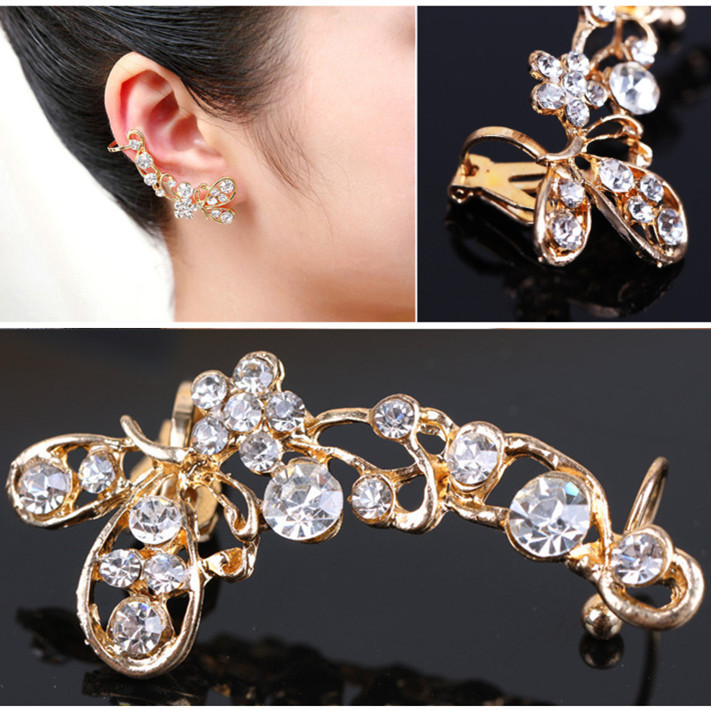 Elegant Retro Gold Crystal Butterfly Flower Ear Cuff Earing Wrap Clip On Earrings For Women Jewelry Free Shipping(China (Mainland))
