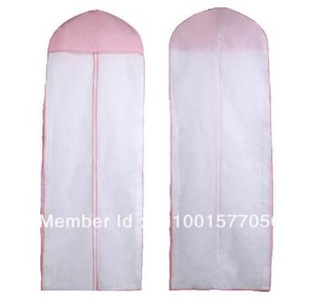 Best Selling Cheap Bridal Wedding Dress Gown Garment Storage Bag Cover New White with Pink Edge No Logo Label Made to Order