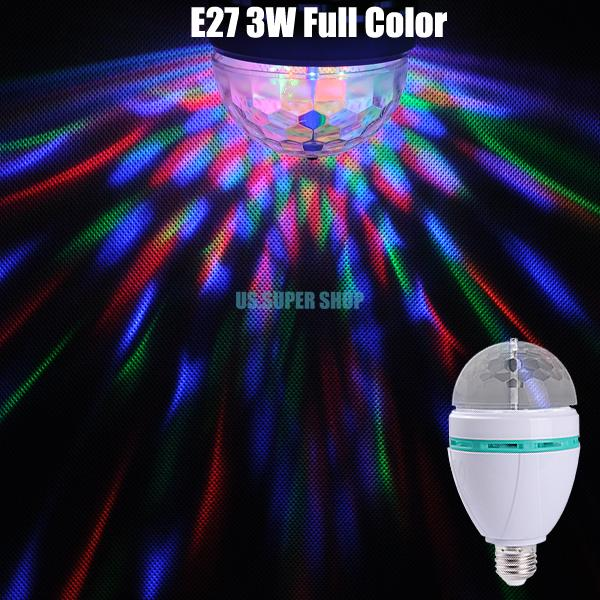 Crystal Full Color Changing Auto Rotating LED Stage Party Dance Light Bulb Lamp EB3626(China (Mainland))