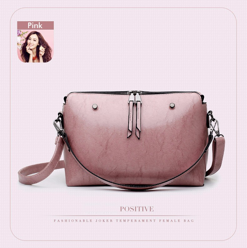 Retro Simple Ladies Crossbody Bag Classy Double Zippers Designer Small Shoulder Bag PU Leather  Women Vintage Hand Bag