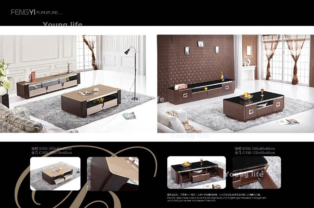 Simple and elegant Coffee table + TV table set (SF-105) --Wholsale only(China (Mainland))