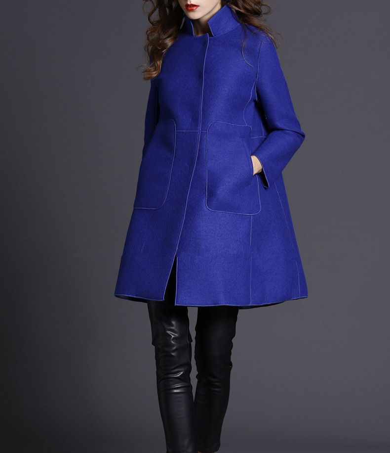 new fashion brand double sided color women's woolen cloth long coat thick wool overcoat S-XL free shipping(China (Mainland))