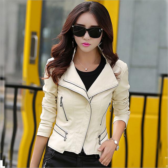 Женщин кожаная куртка 2015 осень мода молнии карман пальто женский жакет верхняя ...