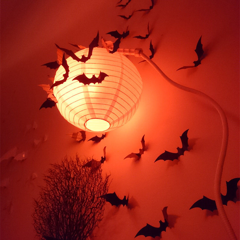2015 Halloween Decoration 12pcs Hot selling New! Arrival Lifelike Black 3D DIY PVC Bat Wall Sticker Decal Home halloween props(Hong Kong)