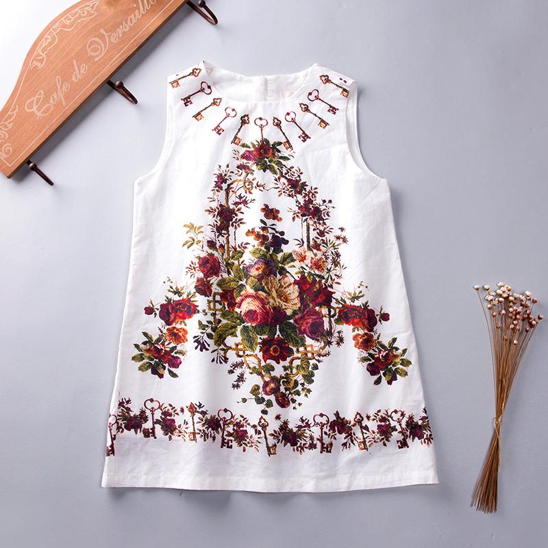 2016 New Baby Girl Tank Dress Floral Vintage Floral Dress Kids Summer Children Clothing Estidos Infantis Flower Girl Vest Dress(China (Mainland))
