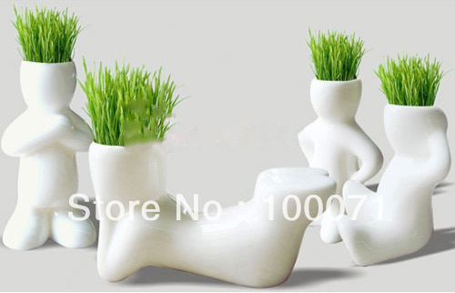 new Creative Ceramic Magic Grass Garden Table Planting Baby Plants Porcelain Toy Pot #32448(China (Mainland))