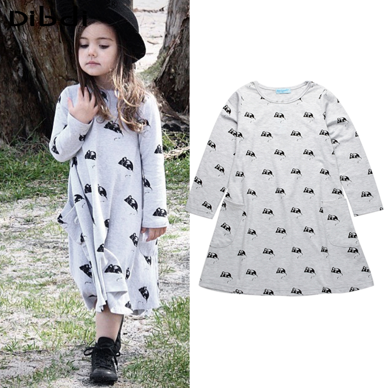 Fashion 2016 Girl Dresses Cartoon Mouse Kids Clothes Long Sleeve Cotton Girls Dress For 2~7 Years Autumn Children Clothing CA355(China (Mainland))