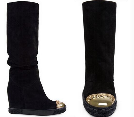 Фотография 2015 Genuine Leather Boots shoes Fur warm Wedges suede Boots Women Height Increasing Platform Knee high Boot winter autumn
