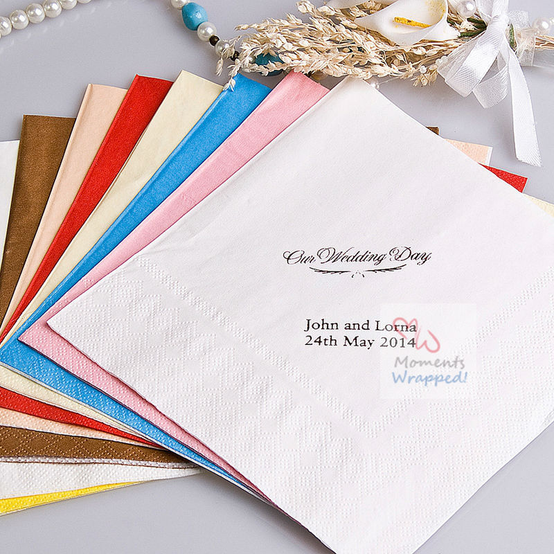 Free Shipping! Our Wedding Day Printed Napkins - Personalized Wedding Napkins - Set of 100 (More Colors)(China (Mainland))