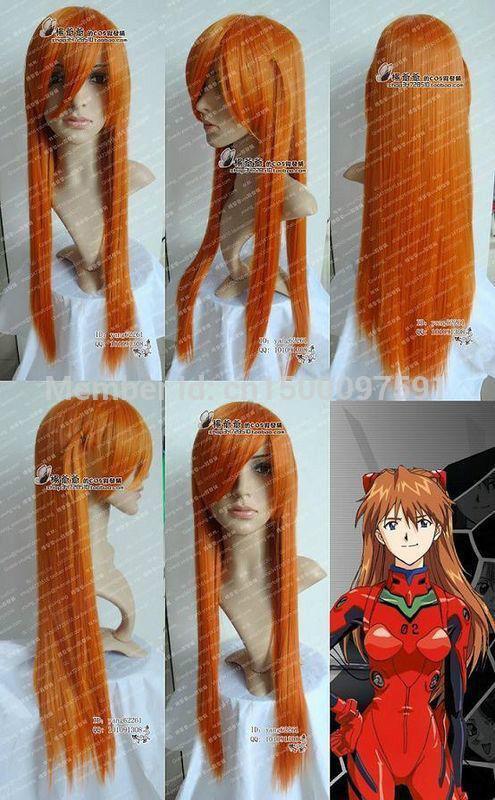 TJ&FY****** Neon Genesis Evangelion Asuka Long Orange Blonde Cosplay Wig(China (Mainland))