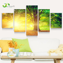 5 Panel Modern Printed Sun Tree Painting Picture Cuadros Decoracion Canvas Landscape Painting For Living Room No Framed PR1005(China (Mainland))
