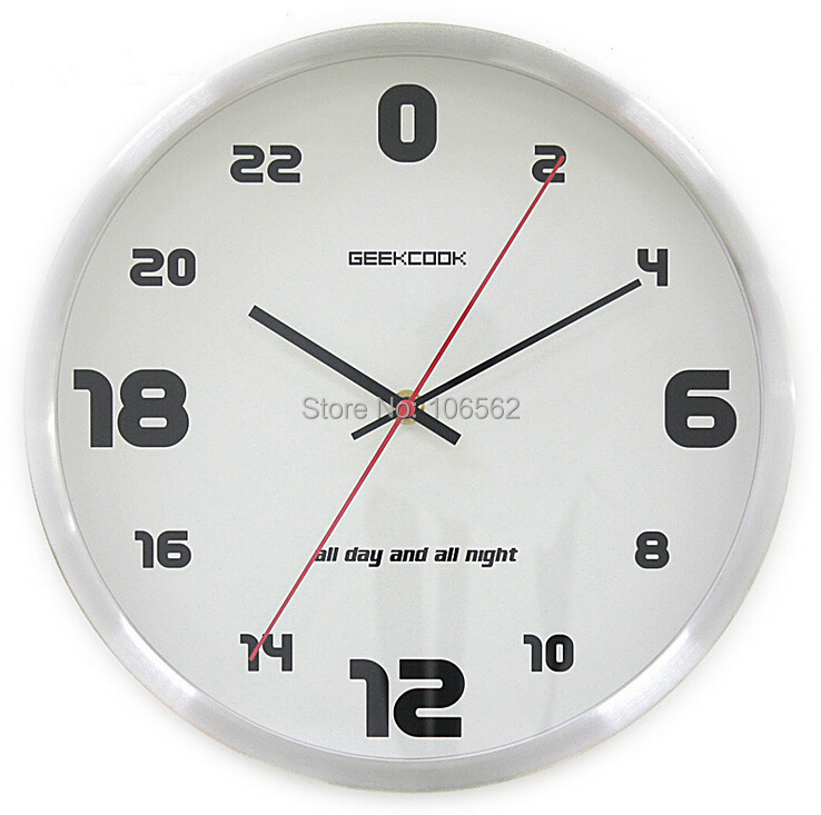 24 hour silent wall clock metal stainless steel wall clock creative sitting room wall clocks modern design kitchen clock wall(China (Mainland))