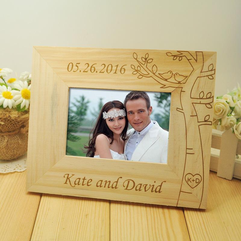 Engraved Wooden Wedding Photo Frames : Personalized-Wedding-photo-frame-Wooden-Wedding-Couple-Pictures-Frames ...
