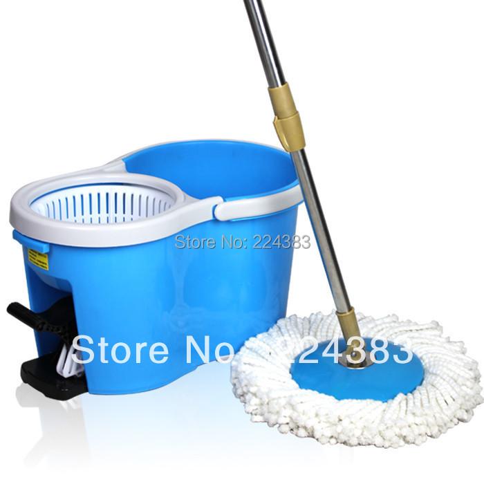 360 Degree Rotating Manual Mop Spin Dry Bucket 2 Mop Heads(China (Mainland))