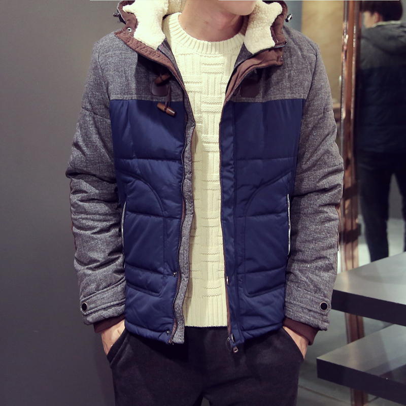 New 2015 male horn button wadded jacket with a hood thickening thermal cotton-padded winter jacket men chaqueta hombre /MF9Одежда и ак�е��уары<br><br><br>Aliexpress