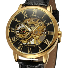 FORSINING Male's Style Mechanical Skeleton Watch Double-sided Luxury Watches Leather Band Meeste kellad