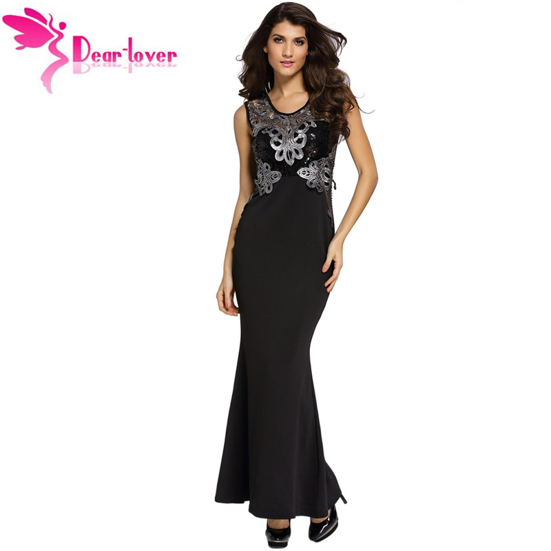 Dear Lover New Thanksgiving Promotion Black Lace Applique Sequin Mermaid Gowns dresses LC60770 Big Sale Black Friday Clearance(China (Mainland))
